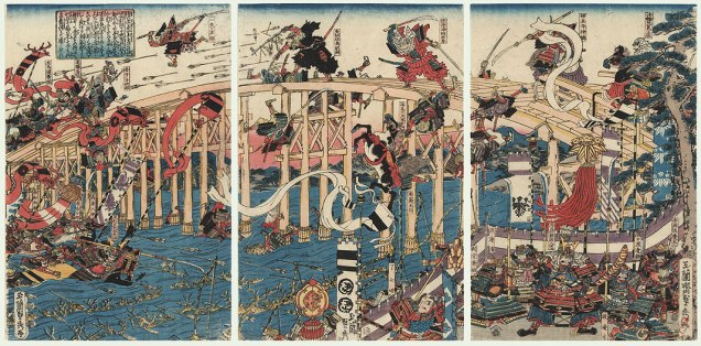 A late Edo period depiction of the Battle of Uji Bridge, in which the forces of Prince Mochihito were defeated.