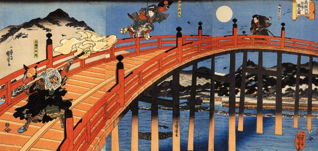 Minamoto no Yoshitsune battles Benkei atop Gojo bridge in Kyoto. This is also a late Edo rendering.