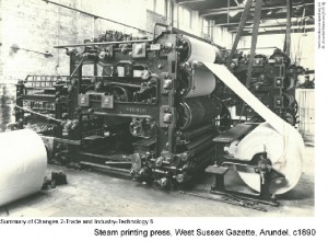 Steam printing press, West Sussex Gazette, Arundel, c1890
