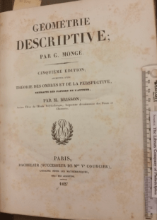 Title page of Gaspard Monge, Géométrie descriptive (Paris: Bachelier, 1827).