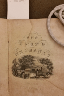 """The Moral and the Mechanical: Frontispiece of a """"conduct of life"""" manual by John Frost, The Young Mechanic (Auburn, NY: Alden & Markham, 1848)"""