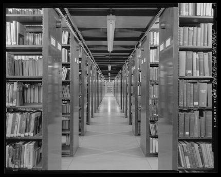 """Stacks, Fourth Level - Free Library of Philadelphia, Central Library, 1901 Vine Street, Philadelphia"" by Joseph Elliot. Library of Congress, https://www.loc.gov/pictures/item/pa4067.photos.573870p."