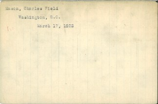 Index card (back) for Charles Field Mason, 1864–1922, American Medical Association Deceased Physicians Masterfile 1906-1969, History of Medicine Division, National Library of Medicine, Bethesda, Maryland, MSC 556, box 172.