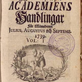 Figure 2  Title page in Swedish to Transactions of the Swedish Academy of the Sciences, vol. 1 (July–September 1739). Courtesy of the Royal Swedish Academy of Sciences.