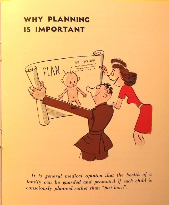 "Man in uniform with a woman in a red dress holding up a technical drawing labeled ""Plan"" that shows a baby and includes a legend with a ""specification""."