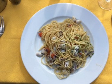 plat of pasta with seafood