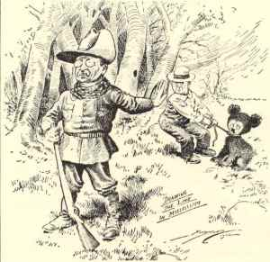 1902 Washington Post political cartoon on Theodore Roosevelt's bear hunting trip.