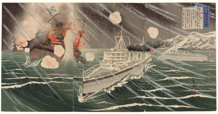 A period Japanese wood block print of Japanese destroyers attacking the Russian Pacific Squadron at Port Arthur.