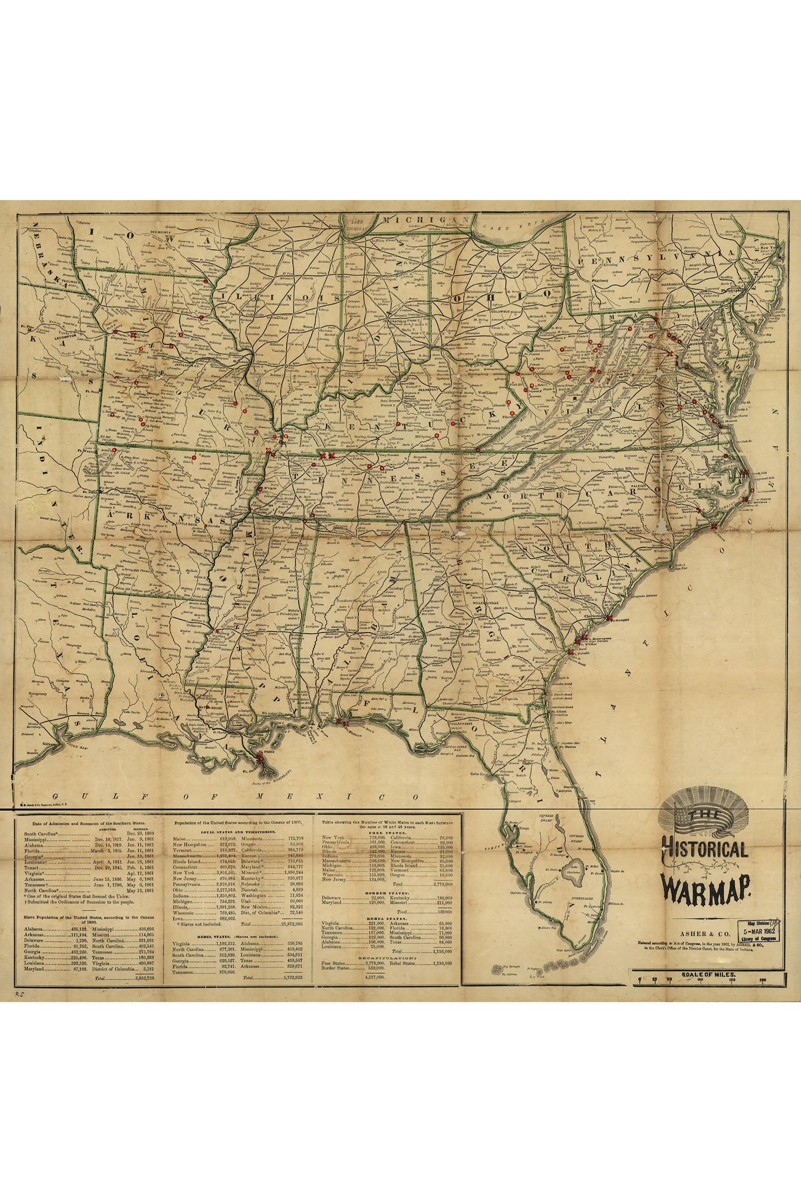 Historical War Map Civil War Antique Map