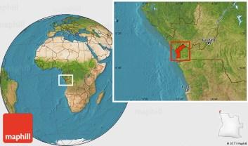 Satellite location map of Cabinda.