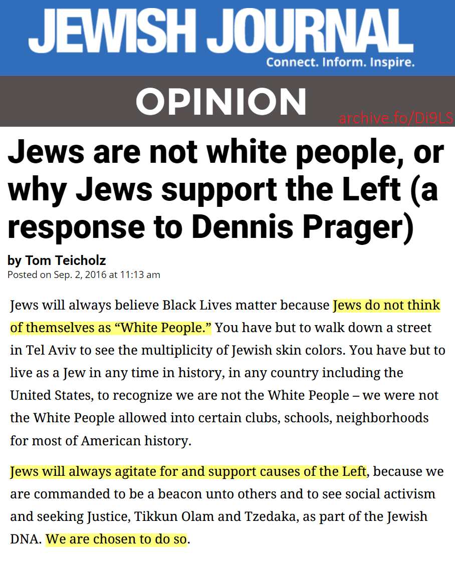 Take Special Note That Jews Do NOT Regard Themselves As White Jan
