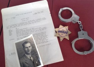 Missing persons report & photograph of Brooke Hart dated Nov. 14, 1933; badge and handcuffs of Sheriff William J. Emig, who led the investigation into Brooke's disappearance will be on display at the Jan. 9 panel. From the Harry Farrell Collection at HSJ.