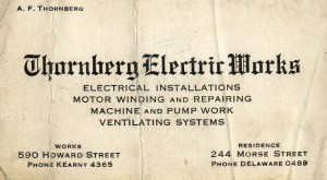 Thornberg Electrical Works card