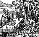 Vlad III Dracula (1431-76) feasting in front of his stuck-up partygoers, 1459