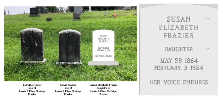 Two brothers lie next to her unmarked grave, Eldridge, far left, and Lewis, Jr., middle.