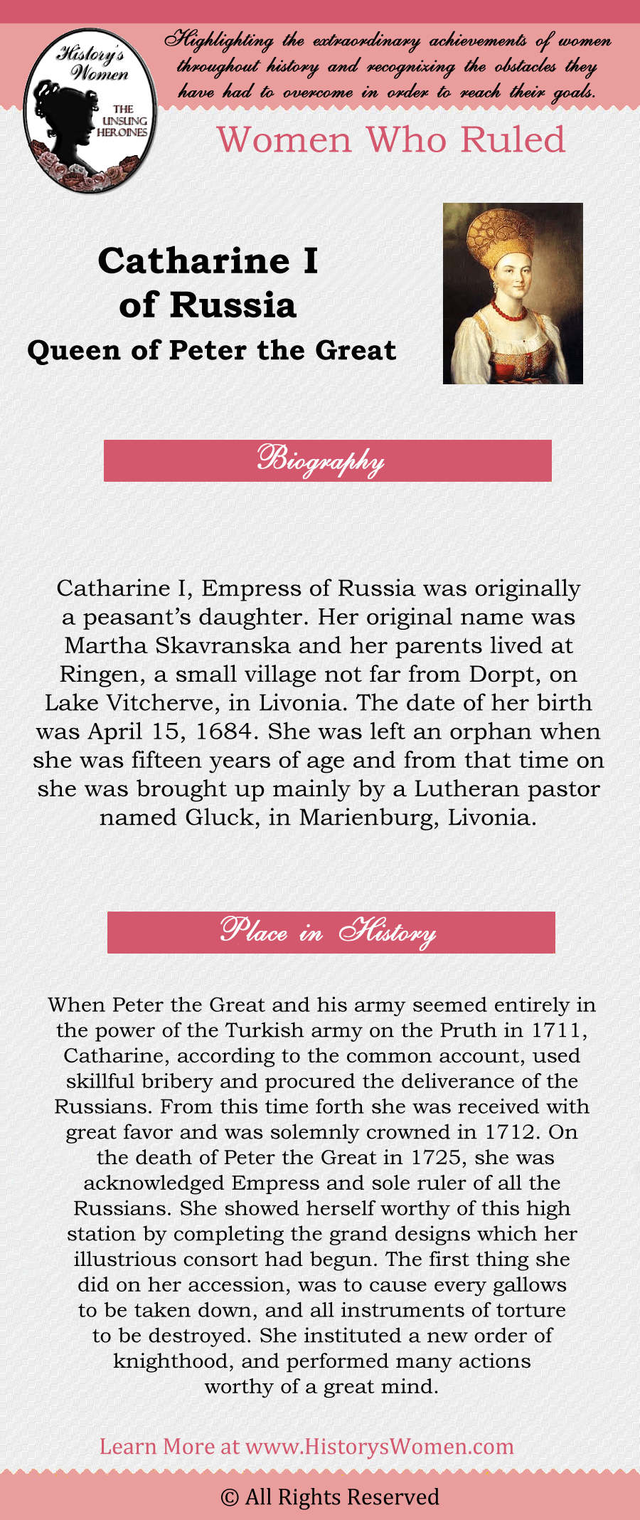 Women Who Ruled: Catherine I of Russia