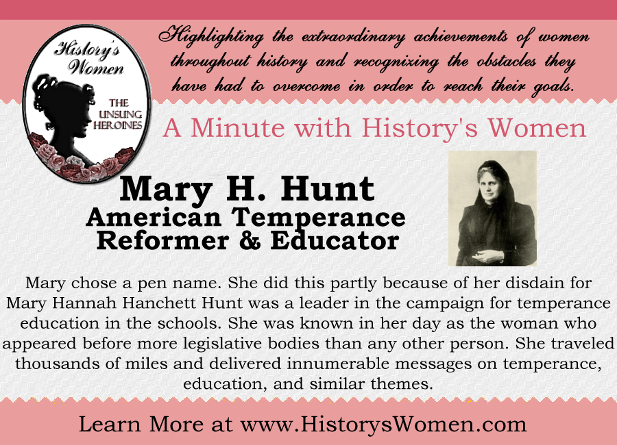 A minute with Mary H. Hunt from HistorysWomen.com