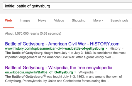 battle of gettysburg search