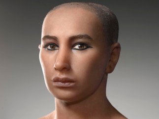 A forensic reconstruction of King Tutankhamun based on CT scans. King Tut bust.