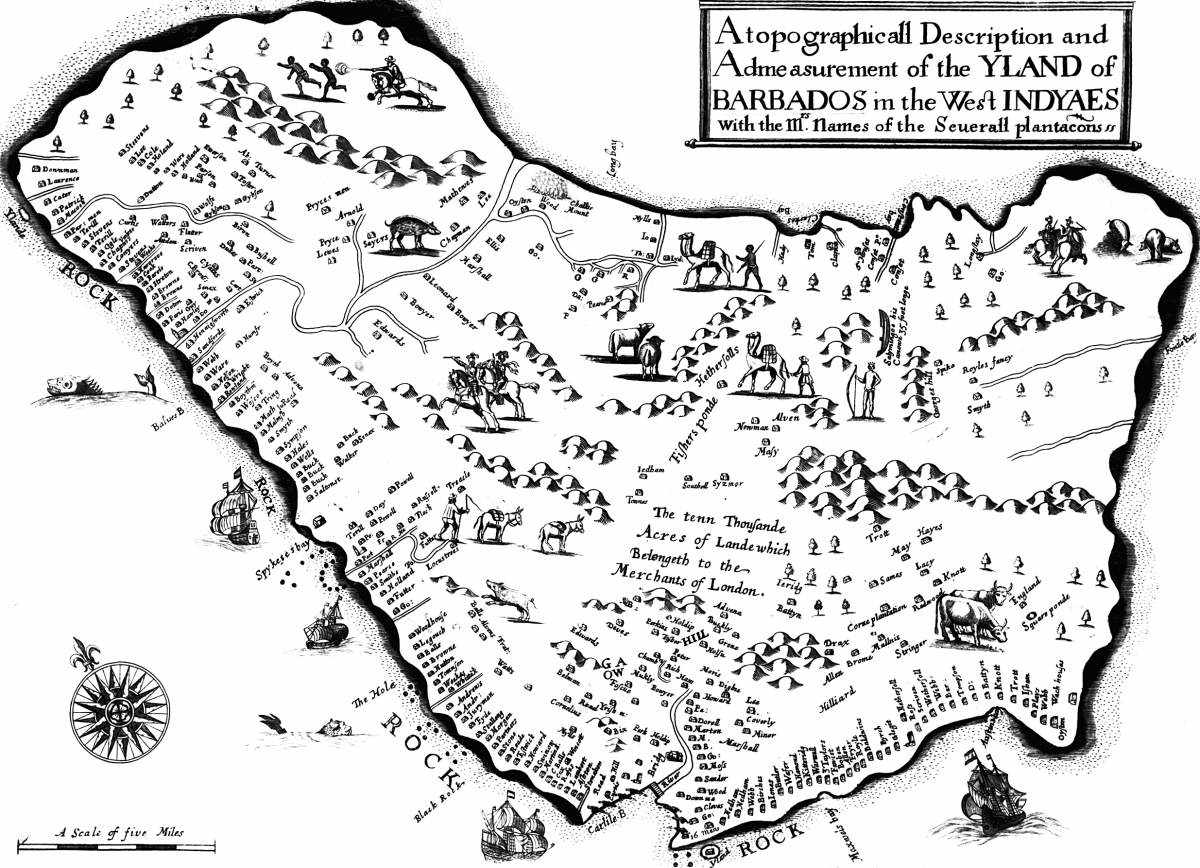 A map of Barbados from Richard Ligon's 'A True and Exact History of the Island of Barbados' (1657). Bridgetown abutts Carlisle Bay at the bottom of the map.