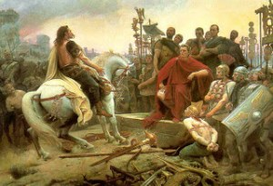 Vercingetorix Surrenders to Julius Caesar. Public Domain Image from Wikipedia.