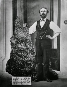 A gold nugget from the Australian gold fields dug up in 1872. Public domain image from Wikipedia.