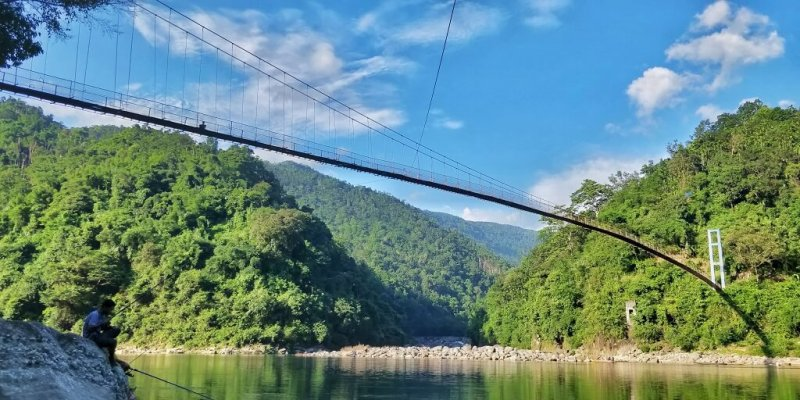 At Shnongpdeng Bridge - Tour to North East India