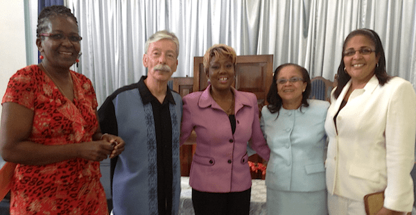 Our Ministry Partners: Left: Dr. Garthlyn Pilgrim, Hospital Christian Fellowship, Pastor Phillip Lee, Nicole Larsen, Christian Radio Isaac 98.1FM, Dr. Judith Henry, Hospital Christian Fellowship, Rev. Michelle Smith, The Power of Change Outreach International (Jamaica)