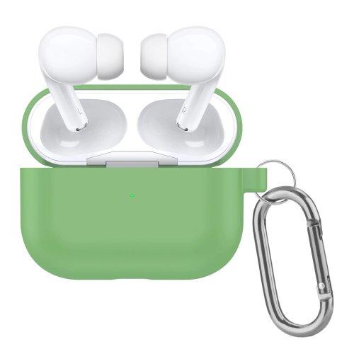 чехол для airpods pro с карабином зеленый