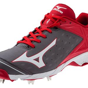 Mizuno 9 Spike Advanced Swagger 2 Low Baseball Spikes - Grey/Red