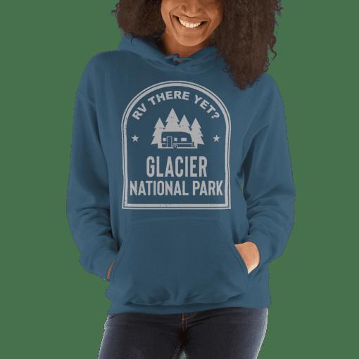 RV There Yet? Glacier National Park Hooded Sweatshirt (Unisex) Indigo Blue