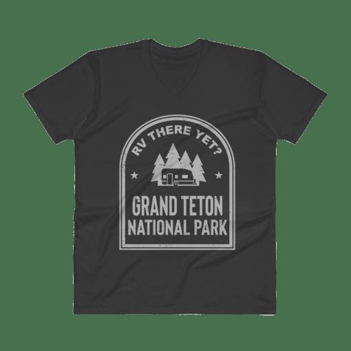 RV There Yet? Grand Teton National Park V-Neck (Men's) Black