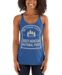 RV There Yet? Rocky Mountain National Park Racerback Tank (Women's) Vintage Royal
