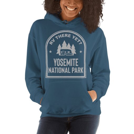 RV There Yet? Yosemite National Park Hooded Sweatshirt (Unisex) Indigo Blue