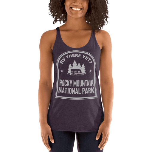 RV There Yet? Rocky Mountain National Park Racerback Tank (Women's) Vintage Purple