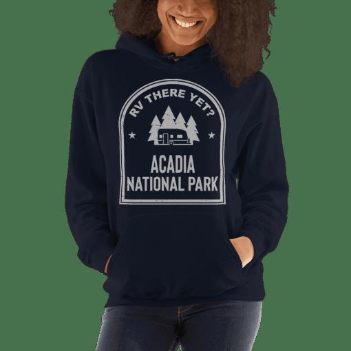 RV There Yet? Acadia National Park Hooded Sweatshirt (Unisex) Navy
