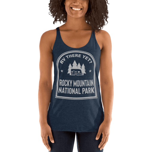 RV There Yet? Rocky Mountain National Park Racerback Tank (Women's) Vintage Navy