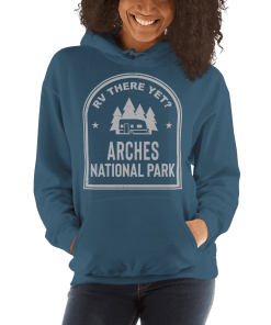 RV There Yet? Arches National Park Hooded Sweatshirt (Unisex) Indigo Blue