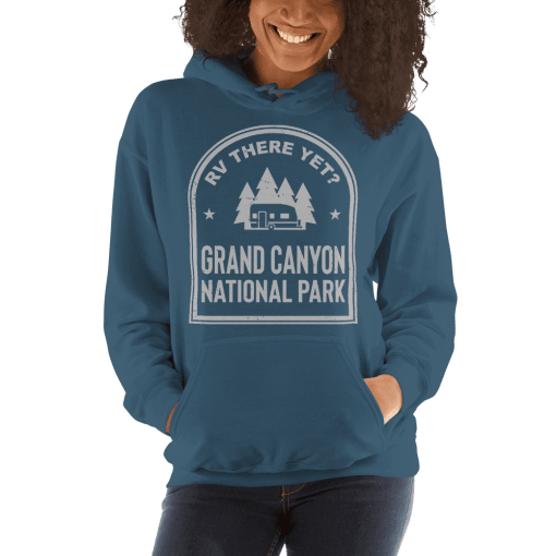 RV There Yet? Grand Canyon National Park Hooded Sweatshirt (Unisex) Indigo Blue