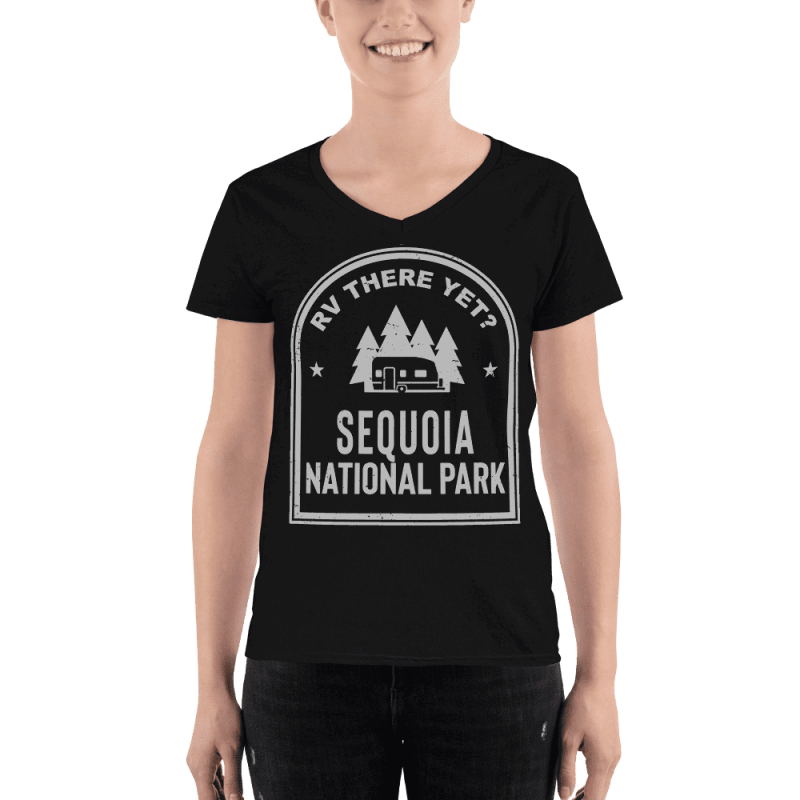 RV There Yet? Sequoia National Park V-Neck (Women's) Black