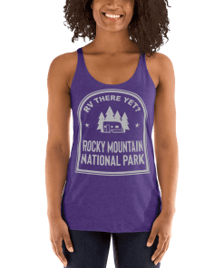 RV There Yet? Rocky Mountain National Park Racerback Tank (Women's) Purple Rush