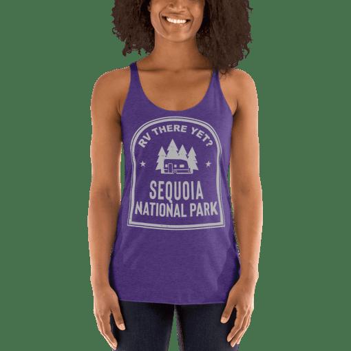 RV There Yet? Sequoia National Park Racerback Tank (Women's) Purple Rush