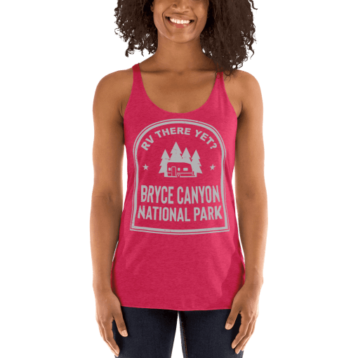 RV There Yet? Bryce Canyon National Park Racerback Tank (Women's) Vintage Shocking Pink