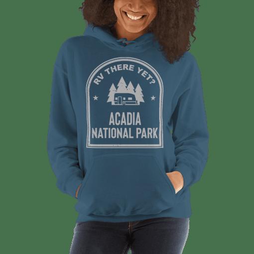 RV There Yet? Acadia National Park Hooded Sweatshirt (Unisex) Indigo Blue