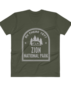 RV There Yet? Zion National Park V-Neck (Men's) City Green