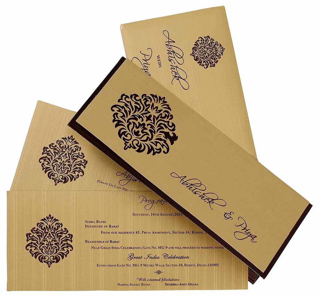 Indian Wedding Card In Brown And Golden With Cutout Design  Wedding Invitations  Wedding Cards