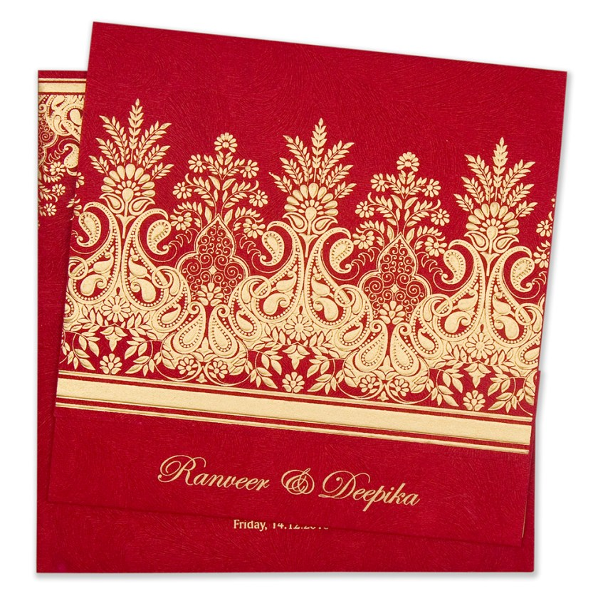 Hindu Wedding Cards Designer Invitation Card In Vibrant Red Colour