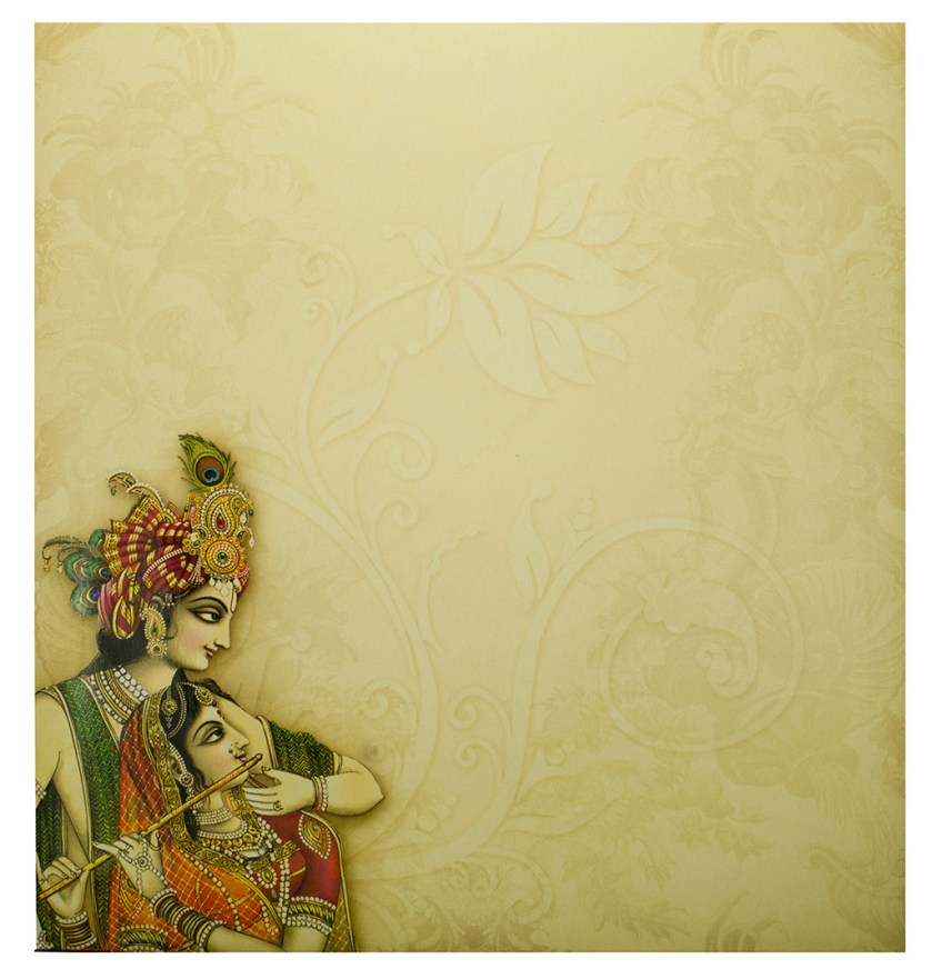 Hindu Wedding Card With Radha Krishna Images