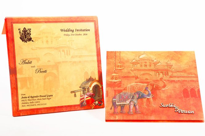 Hot Invitation Card Customlizable Laser Cut Indian Wedding Cards With Inner Paper Envelop And
