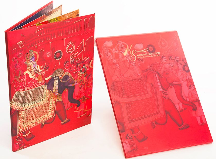 Royal Indian Wedding Card In Pink Red And Procession Image